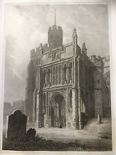 1827 Antique Print; Hitchin Church by Blore from Clutterbuck's History Herts