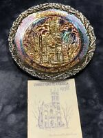 """Fenton  AMETHYST CARNIVAL GLASS """"CHRISTMAS IN AMERICA 1978"""" PLATE & Booklet"""