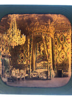 Early Tissue Stereoview Chateau Fontainebleau Chambre à Coucher Bedroom c.1860s