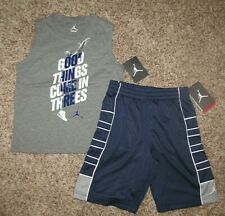 Air Jordan Boys Set Shirt Shorts Size 7 Gray