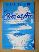 SAVOY THEATRE PROGRAMME 1957- FREE AS AIR by DOROTHY REYNOLDS & JULIAN SLADE