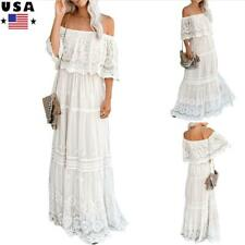 Womens Lace Off Shoulder Long Maxi Dress Ladies Summer Casual Hollow Party Dress