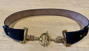 Gucci Black Leather Horsebit Belt Size 80cm