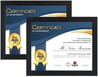 Certificate Frame (2-Pack) w/ High Definition Glass  8.5x11 Inch Award Diploma