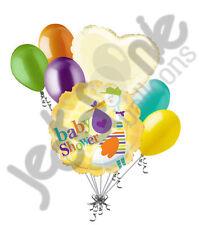 7 pc Baby Shower Gender Neutral Stork Balloon Bouquet Party Decoration