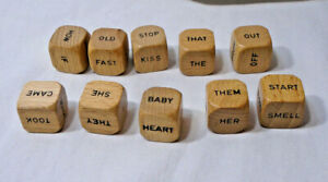 "WORD DICE * Vintage? * Set of 10 Wood - .5"" wide - Lot - Scrabble"