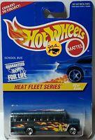 1997 Vintage Hot Wheels Heat Fleet Series 2/4 SCHOOL BUS Green Chrome 5 Sp #538