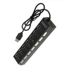 Black 7Port High Speed USB2.0 External Multi Expansion Hub with ON/OFF Switch BR