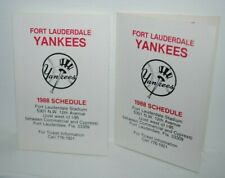 1988 Fort Lauderdale Yankees, minor league baseball pocket schedules, lot of 2