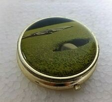 Golfers Scene On Pill/Medicine Box/Case/Container for Pockets