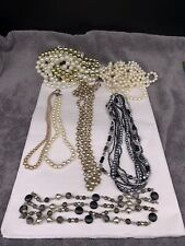 Faux Pearl 7 Necklaces Vintage Lot Of Costume Bead