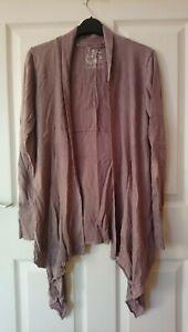 Fat Face Drape Cardigan Size 12-14 Dusky Pink Cotton/Modal