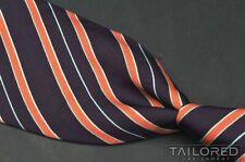 """MASSIMO BIZZOCCHI Purple Orange Striped Twill 100% Silk Mens Luxury Tie - 3.75"""""""