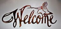 "Hummingbird Welcome Sign Metal Wall Art Decor 20"" wide x 17 1/2"" tall"