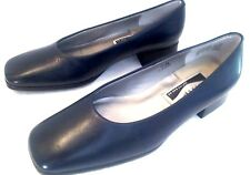 CARESSA* - Women Size 5 5 M Ladies Navy Blue Leather Loafer Pumps SPECIAL