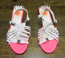 WOMEN'S DIESEL WHITE STRAPPY FLATS SANDALS NEON PINK SILVER CLIP SIZE 39 COMFY