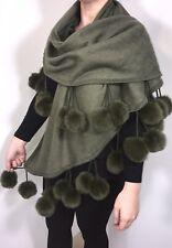 Pom Pom Pashmina Wrap Shawl Huge Fluffy Faux Fur Pom Poms Soft Olive Khaki NEW