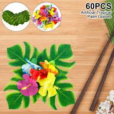 60 Tropical Artificial Palm Leaves Hawaiian Luau Jungle Beach Theme Party Decor