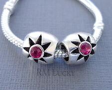 2pcs Silver tone Pink Crystal Charm Bead Fits European Bracelet / Necklace C118