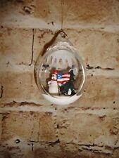 "Glass Clear Snowman USA Flag Patriotic Holiday Christmas Tree Ornament 3.5"""
