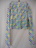 Vintage Blue Green Purple Polka Dot Half Apron with rick rack accent