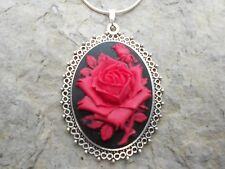 """RED ROSE CAMEO NECKLACE - PENDANT 2"""" (on black) 925 PLATED CHAIN- QUALITY"""