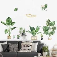 Pot Green Plants Flower Wall Stickers Vinyl Decal Living Room Art Mural Decor
