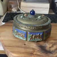 Chinese Antique Brass Colored Enamel Interior Box With Stone decorated Lid