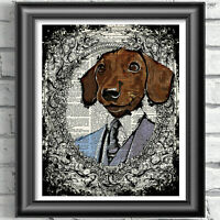 Dachshund Print Vintage Dictionary Page Wall Art Picture Sausage Dog Wall Decor