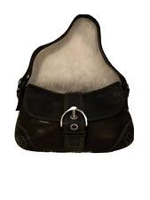 Coach Signature Black Leather Hobo Shoulder Bag W/ Silver Buckle