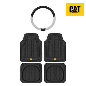 All Weather Heavy Duty Universal Front/Rear Floor Mats 4pc+Steering Wheel Cover