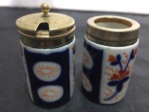 Antique 19th c. Imari Porcelain 2 Pot Set w/EPNS Silver