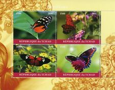 Chad 2018 MNH Butterflies 4v M/S Papillons Butterfly Insects Stamps