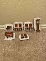 MINIATURE WOOD DOLL HOUSE FURNITURE VINTAGE Set of Chairs, End Table, Clock