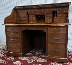 Rare American Antique S Curve Golden Oak Geo H. Fuller Roll Top Desk Circa 1890