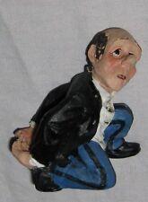 """Whimisical Black White Blue Butler in Tux Figurine 3 1/2"""" Wine Bottle Holder"""