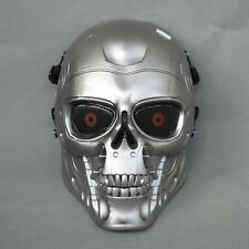 New Full Face Protection Paintball T800 Skull Mask Props Halloween Silver JDM17