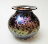SIGNED IRIDESCENT AUSTRALIAN GLASS VASE SEAN O'DONOGHUE IRIDISED STUDIO ART