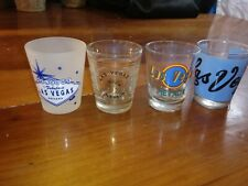 Lot of 4 Las Vegas Nevada Souvenir Shot Glasses Dice Welcome Sign Gaming Vintage