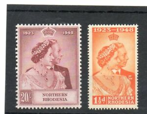 SG 48/49 NORTHERN RHODESIA MINT SILVER WEDDING. CAT £110. TWO SCANS