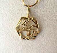 SWEET 16 14K Yellow Gold Pendant Diamond Cut Medallion 13mm x 13mm Vintage