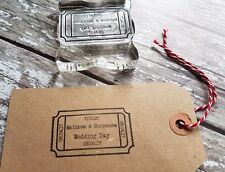 PERSONALISED SAVE THE DATE RUBBER STAMP WEDDING ENGAGEMENT PARTY TICKET