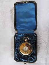 Antique 18ct 18K Gold Half Hunter Pocket Watch in Case  Working