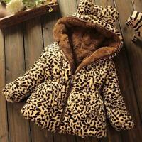 Winter Baby Girls Warm Hooded Coat Leopard Outerwear Kids Jacket Thicken Trench