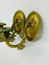 Pair (2) of Wall French Brass/Bronze Sconces Candelabra 1920's - Beautiful