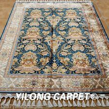 Yilong 4.3'x6.6' Handmade Silk Rugs Classic Floral Art Hand Knotted Carpets 1794