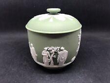 More details for super vintage wedgwood green jasperware lidded bowl (sugar?) (y2 368)