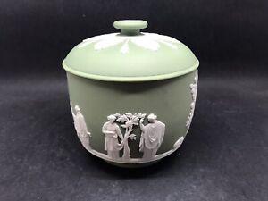 Super Vintage Wedgwood Green Jasperware Lidded Bowl (Sugar?) (Y2 368)