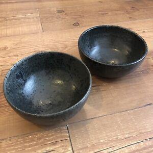 Vintage Scandinavian KH Würtz Aage Kasper Wurtz Danish Ceramic Black Glaze Bowls