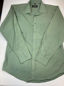 Boss Hugo Boss Mens Green Button Up Long Sleeve Cotton Shirt Size 15 1/2 33-34